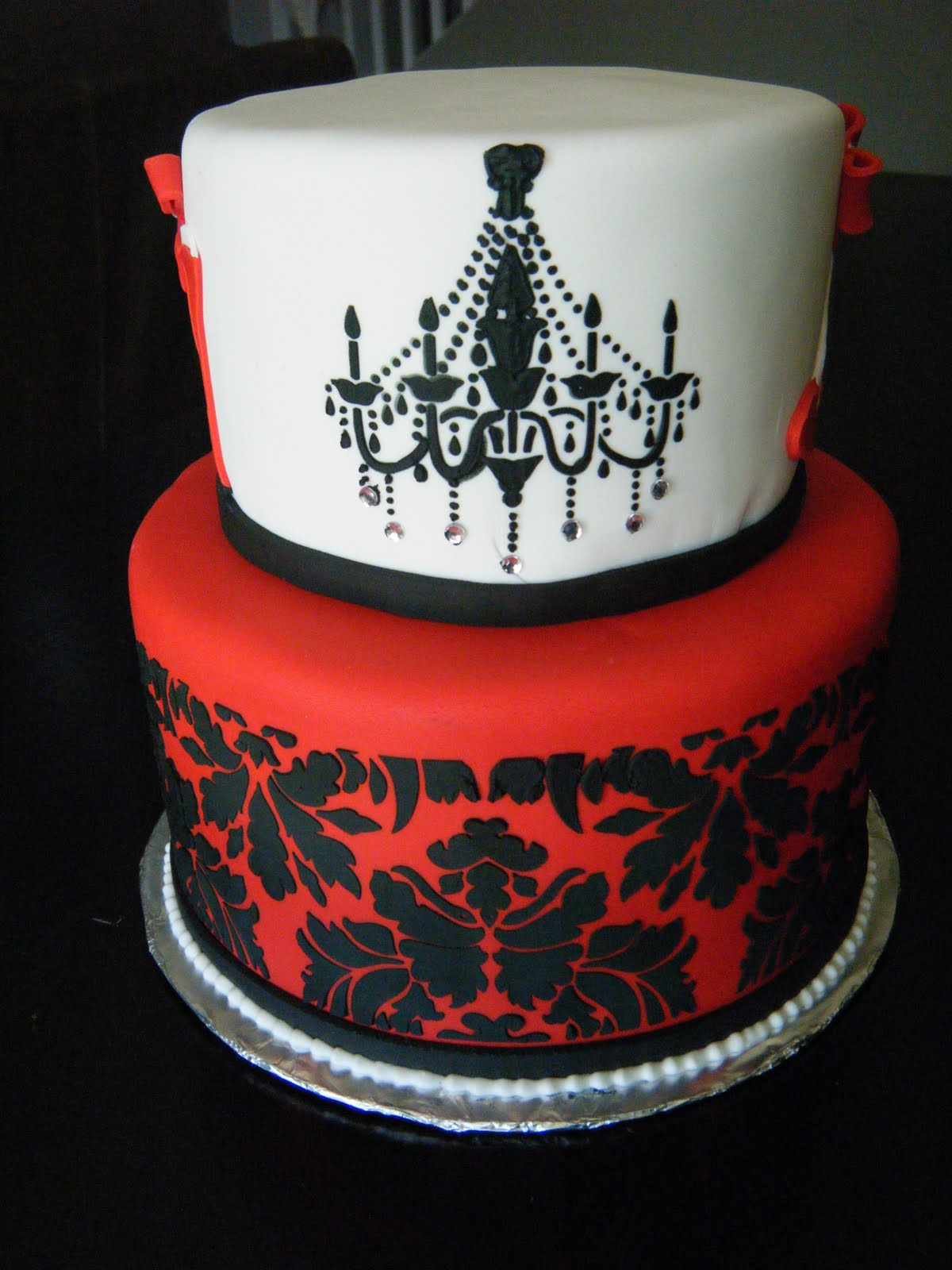Cassys Cakes Red And Black Damask Birthday