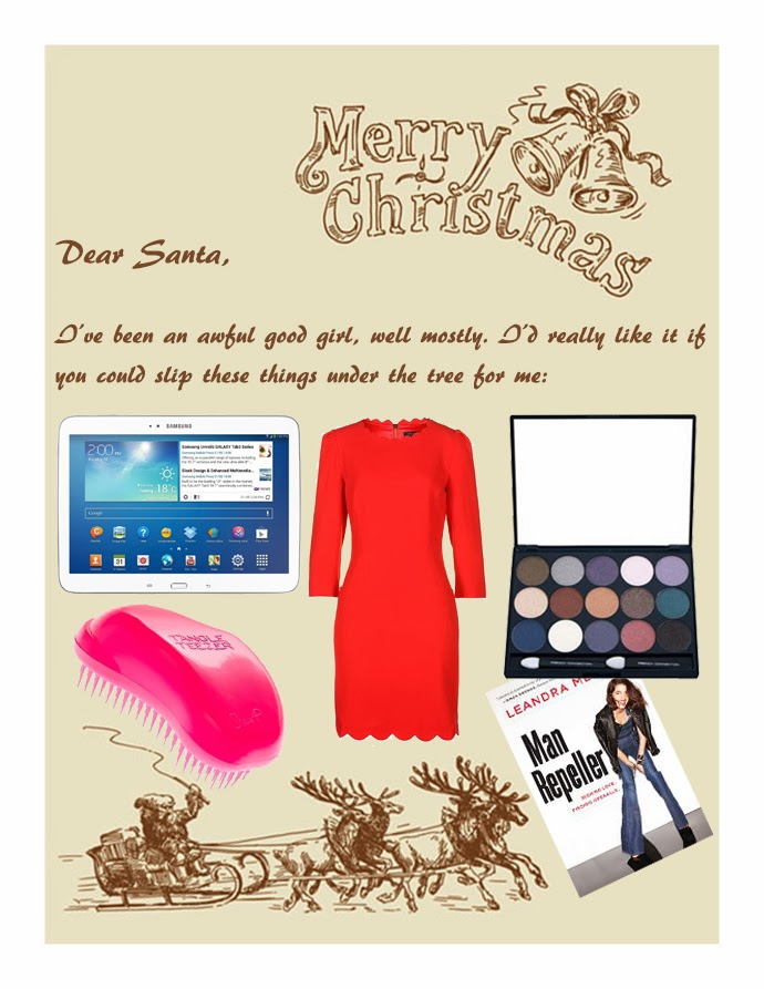 Fashion Thrill's Guide to Christmas: My Letter to Santa Claus featuring Samsung Galaxy tab 3, The tangle teezer, Little red dress, French Connection eyeshadow collection and Leandra Medine's book Man Repeller