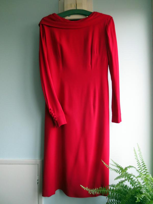 Vintage klänning ull hallonröd