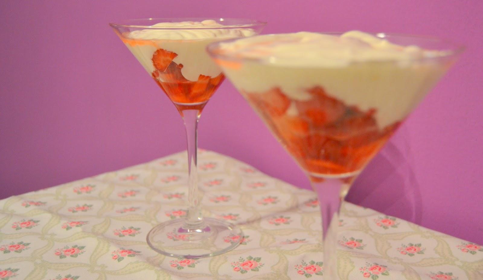 Postre Fresas con crema de queso