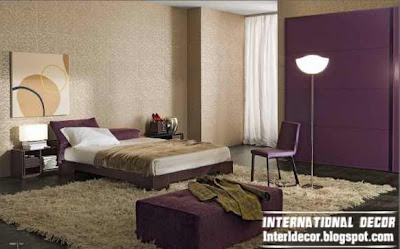 modern Turkish bedroom designs and ideas with purple furniture 2014