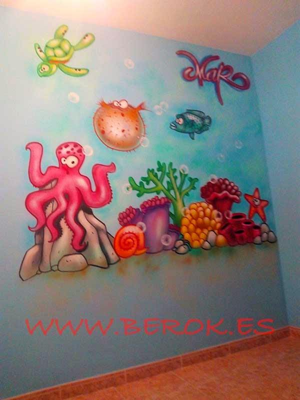 Decoración graffiti mural infantil de fondo de mar
