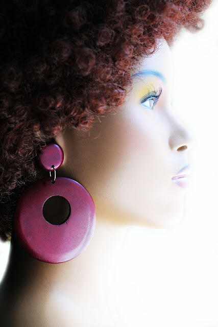 large burgundy african wood hoop earrings