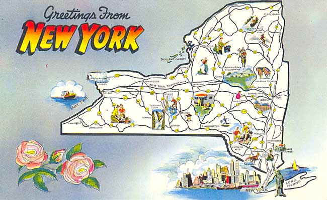 Postcard Gems  Map  Greetings From New York
