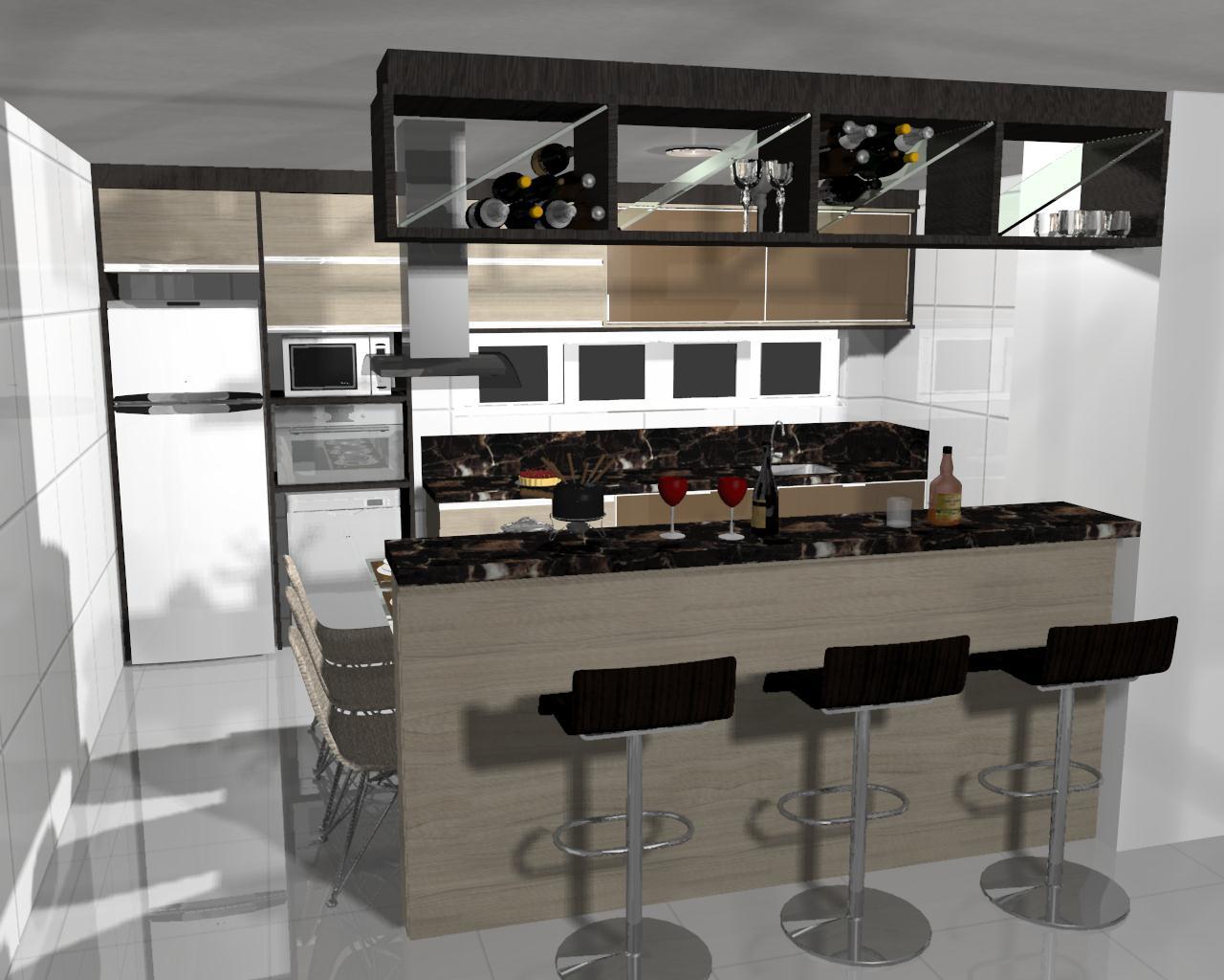 Projeto De Cozinha Pequena Com Ilha Projeto Dos Mveis Cozinha Em L