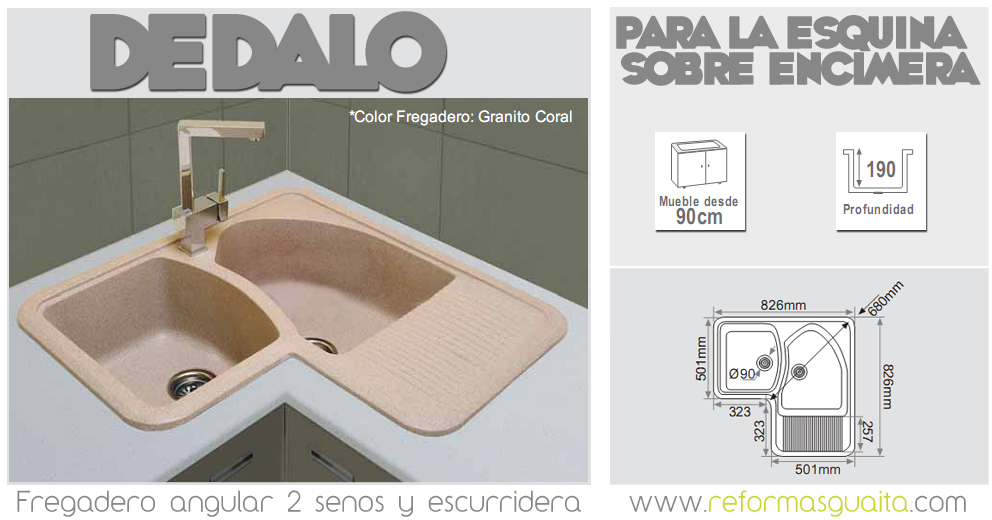 2 fregaderos angulares para la esquina reformas guaita for Fregadero esquinero