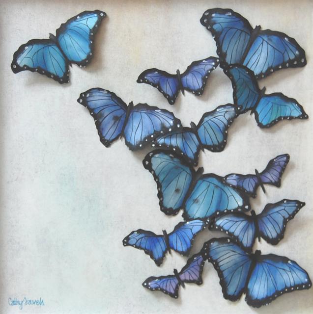 3D Butterfly Painting by Cathy Savels #butterfly #sapphire #blue #art