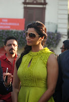 Daisy Shah in Neone Green Tight  Sleveless Dress at Mid Day Trophy Race 2014 Mumbai