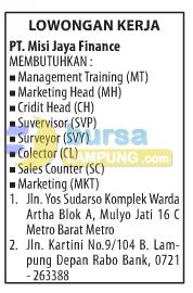 Lowongan Kerja PT. Misi Jaya Finance