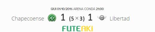O placar de Chapecoense 1 (5x3)1 Libertad pelas oitavas de final da Copa Sul-Americana 2015