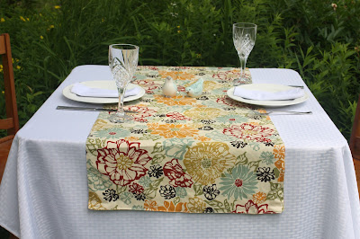 mustard and marsala floral print table runner