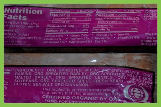 ezekiel bread nutrition label