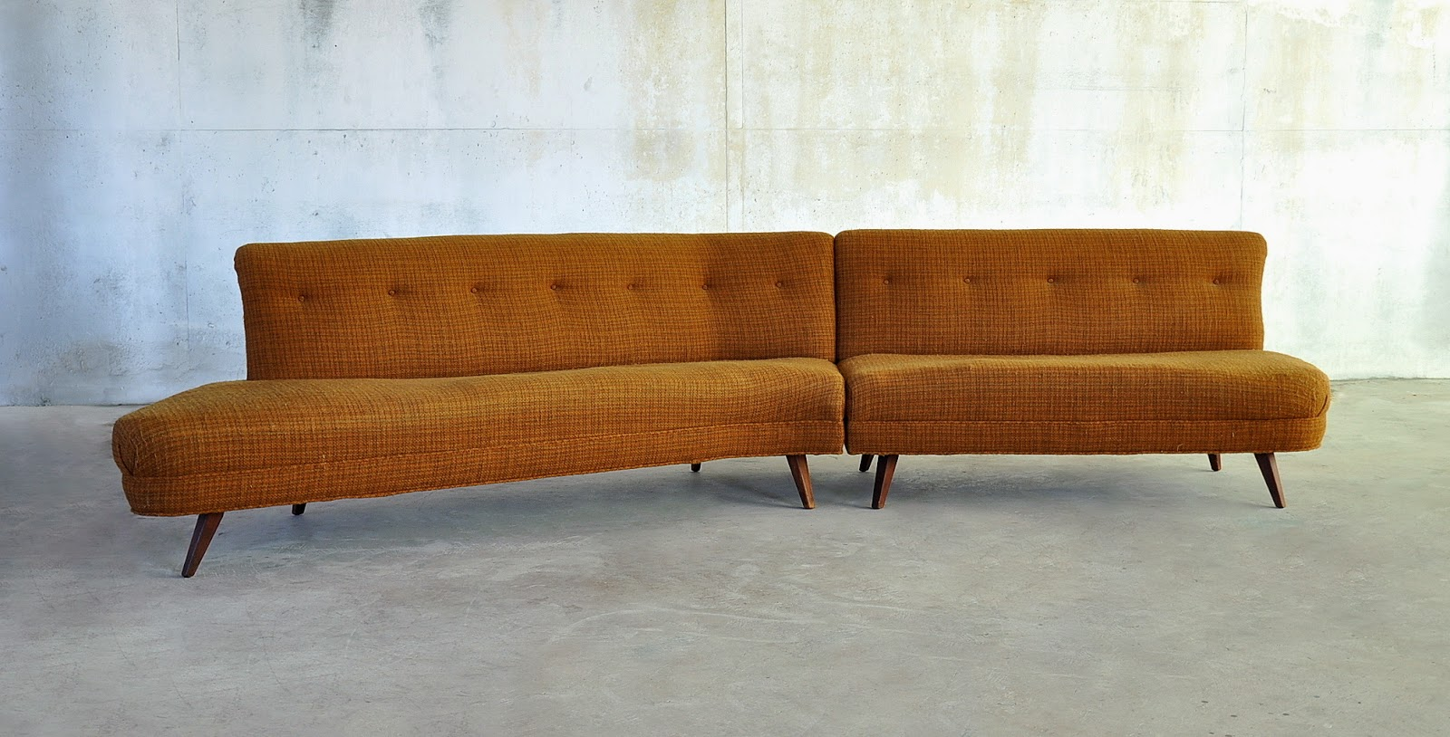 1950s. Amazing Boomerang Shaped Atomic Age Sofa. Clean Mid Century Modern  ...