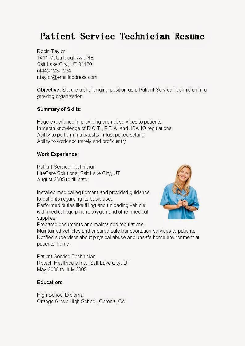 resume samples  patient service technician resume sample
