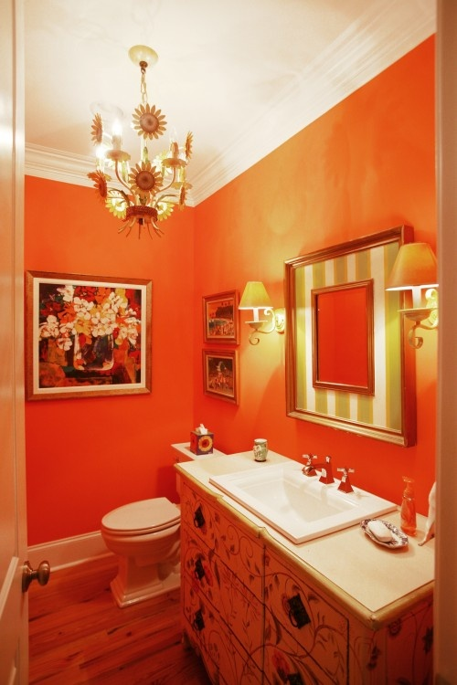 Wallpaper İnteresting Home Designs: Cool Orange Bathroom Design Ideas