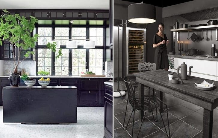 Two contemporary black kitchens