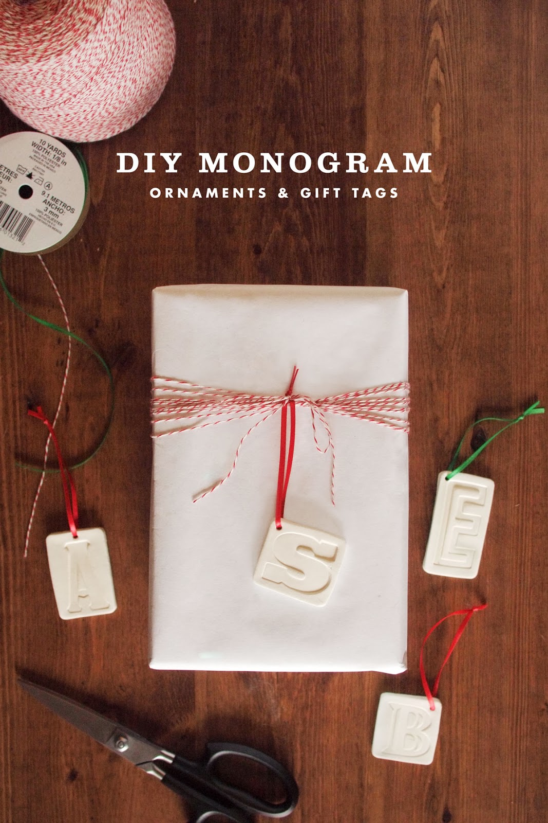 diy clay monogram ornaments  u0026 gift tags