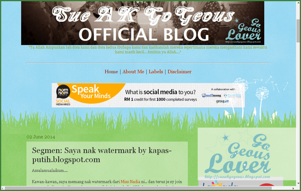 Lucky blogger no 14 - Segmen: Saya nak watermark by kapas-putih.blogspot.com