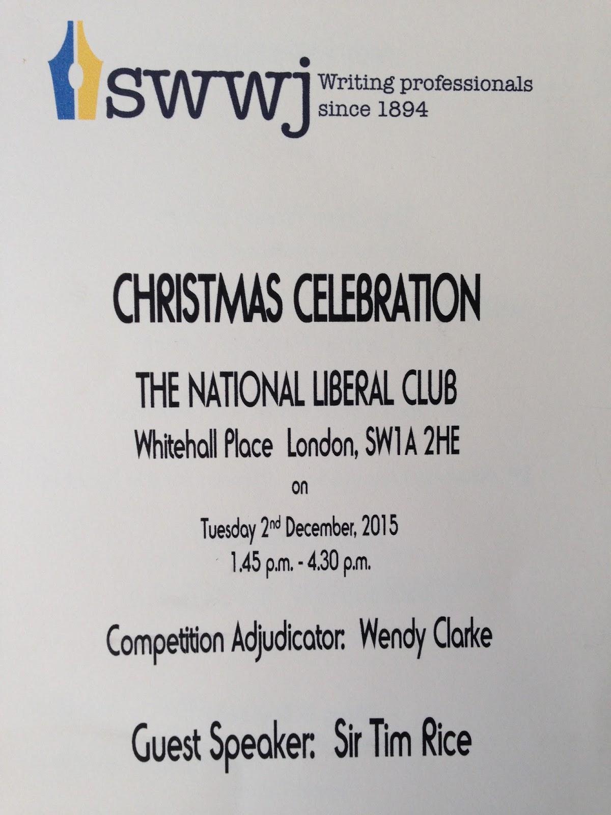 Wendy\'s Writing Now: The SWWJ Christmas Tea... and Meeting Sir Tim Rice