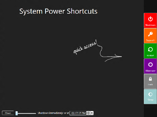 add system power buttons shortcuts