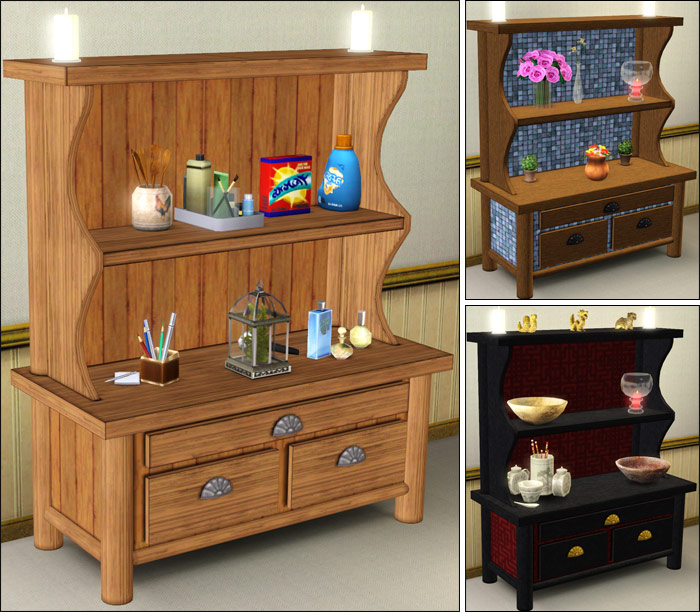 Country Kitchen Dresser: My Sims 3 Blog: Rococo Dresser, Country Kitchen Welsh