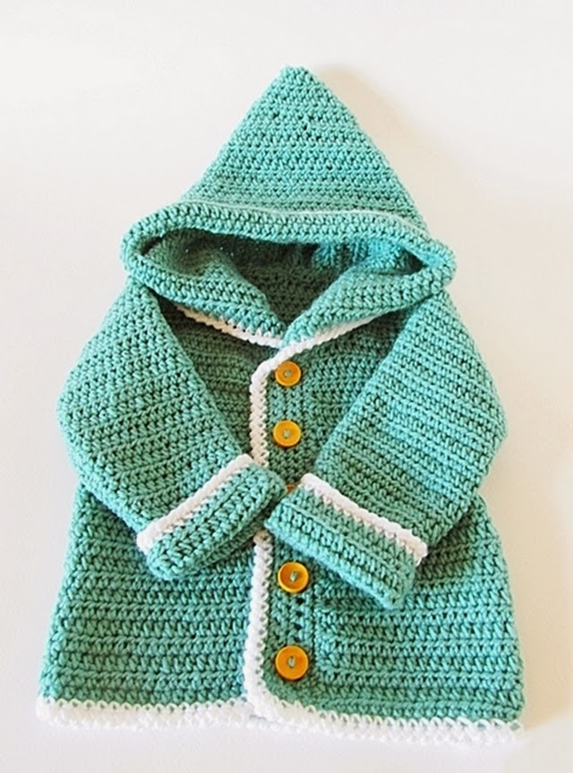 Free Crochet Pattern Hooded Sweater : tangled happy: Crochet Baby Cardigan