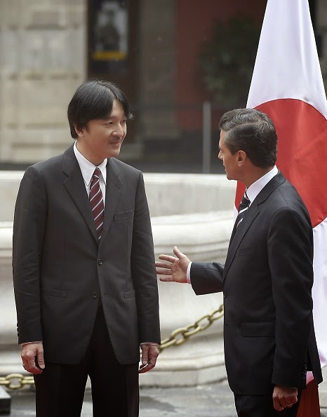 Their Imperial Highnesses, Japanese Prince Akishino and Princess Kiko were received by Mexico's President, Enrique Peña Nieto in the main courtyard of the National Palace of Mexico City