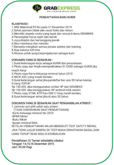 Lowongan Kurir Online GrabExpress Tanggal 14,15,16 Desember 2015