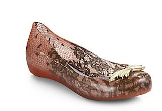 Melissa Ultragirl VII Lace-Print Ballet Flats in Metallic