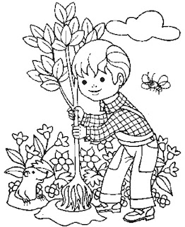 Niño plantando un arbol en el campo
