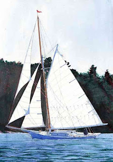 "Sailing A Friendship Sloop Off Farnham Point - Watercolor 14"" x 20"" - Before Warming"