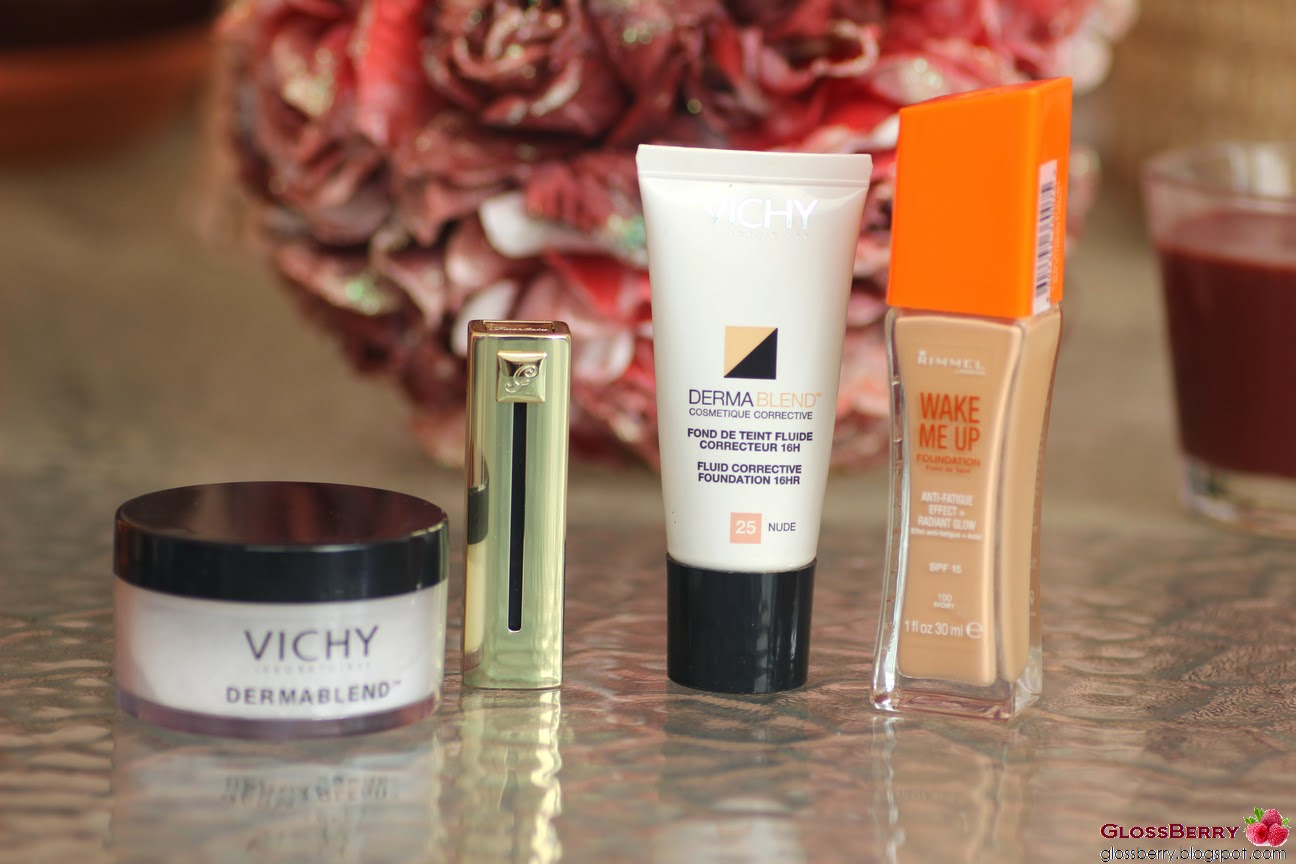 vichy dermablend, rimmel wake me up foundation, Guerlain rouge automatique