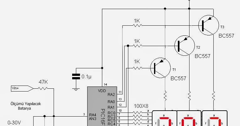 led display voltmetre pic16f676