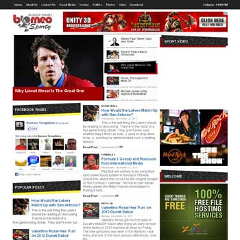 free Borneo Sporty blogger template with featured content template and 3 column template