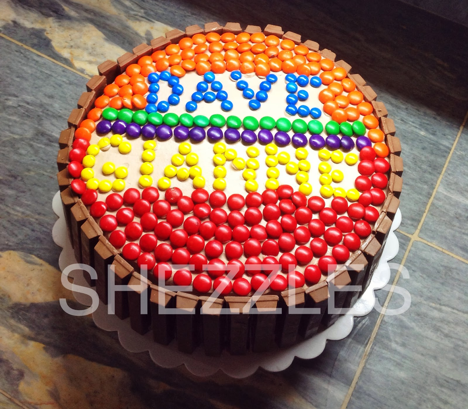 What Better Way To Celebrate Birthday Than Eat Chocolate Cake Special Order Of Kit Kat With The Names Formed Using Colored Candies For Our