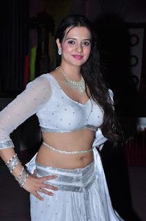 Saloni Aswani Sizzling Spicy White Transparent Choli Low Rise Ghagra Half Pallu in an Item Song