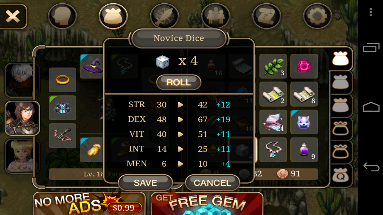 You can get more stats from Novice Dice to your Party member