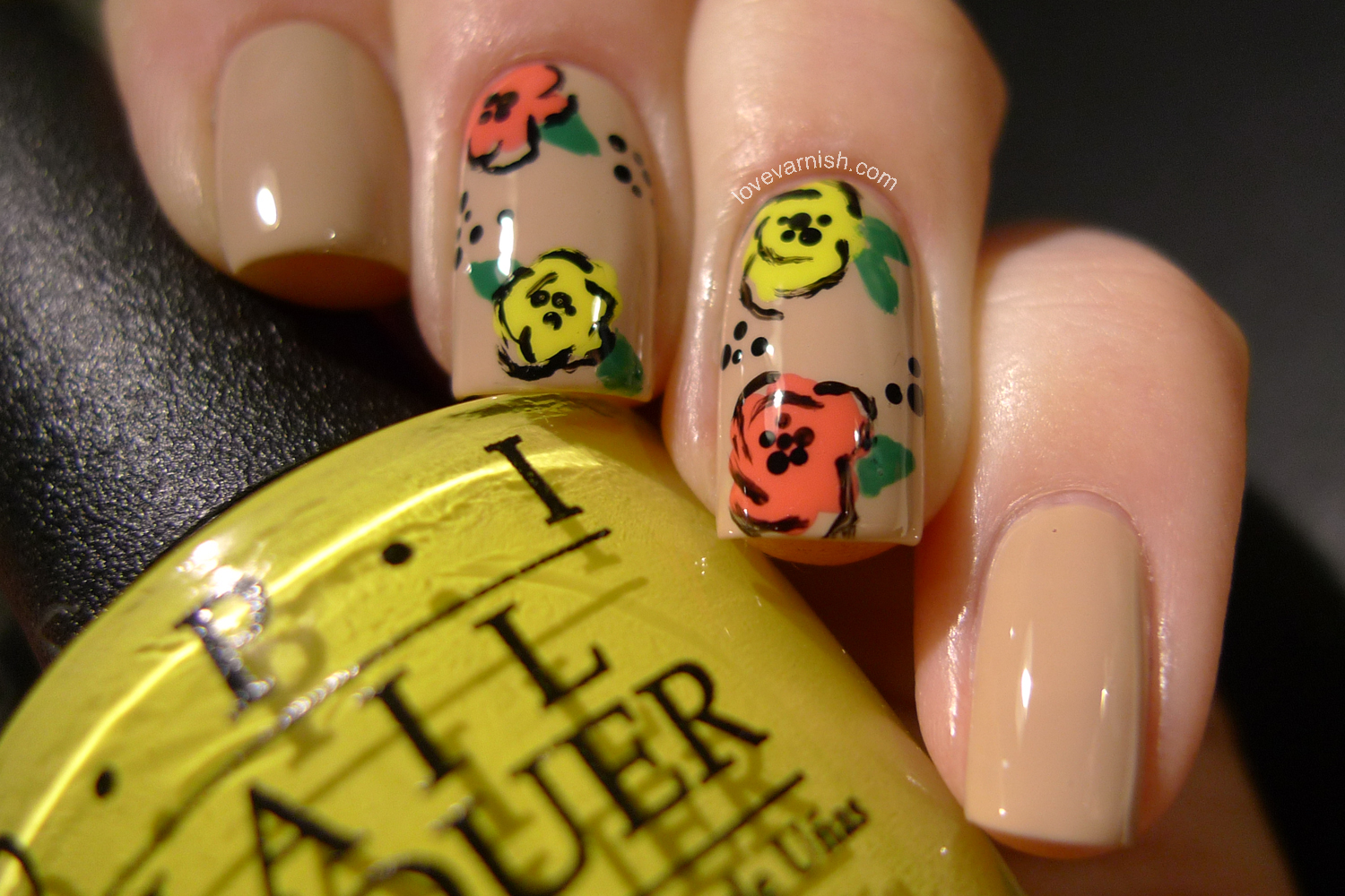 Floral nail art freehand OPI Live. Love. Carnaval and I Just Can't Cope-a-Cabana
