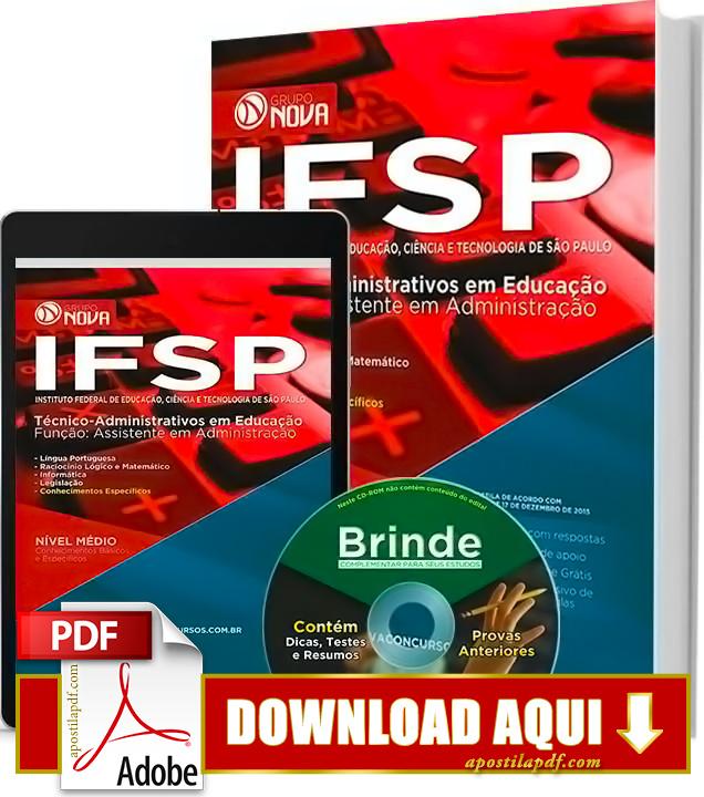 Apostila IFSP 2016 PDF Grátis Download Assistente em Administração