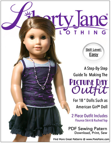 "Picture Day Outfit Flounce Skirt and Top for 18"" Dolls by Libery Jane from Pixie Faire"
