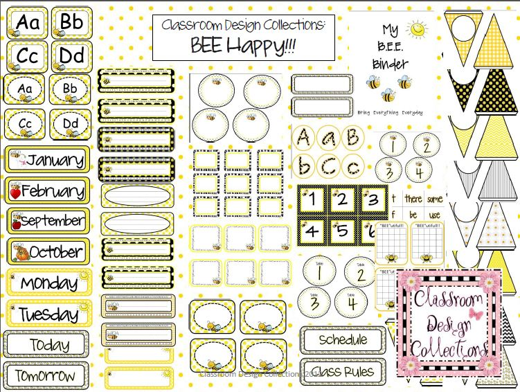 Classroom Decoration Word Worksheet ~ Classroom design collections bee happy