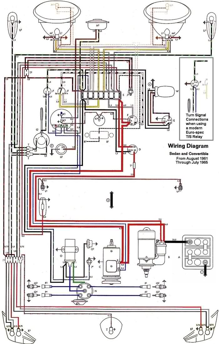 1962-1965 VW Beetle Electrical Diagram