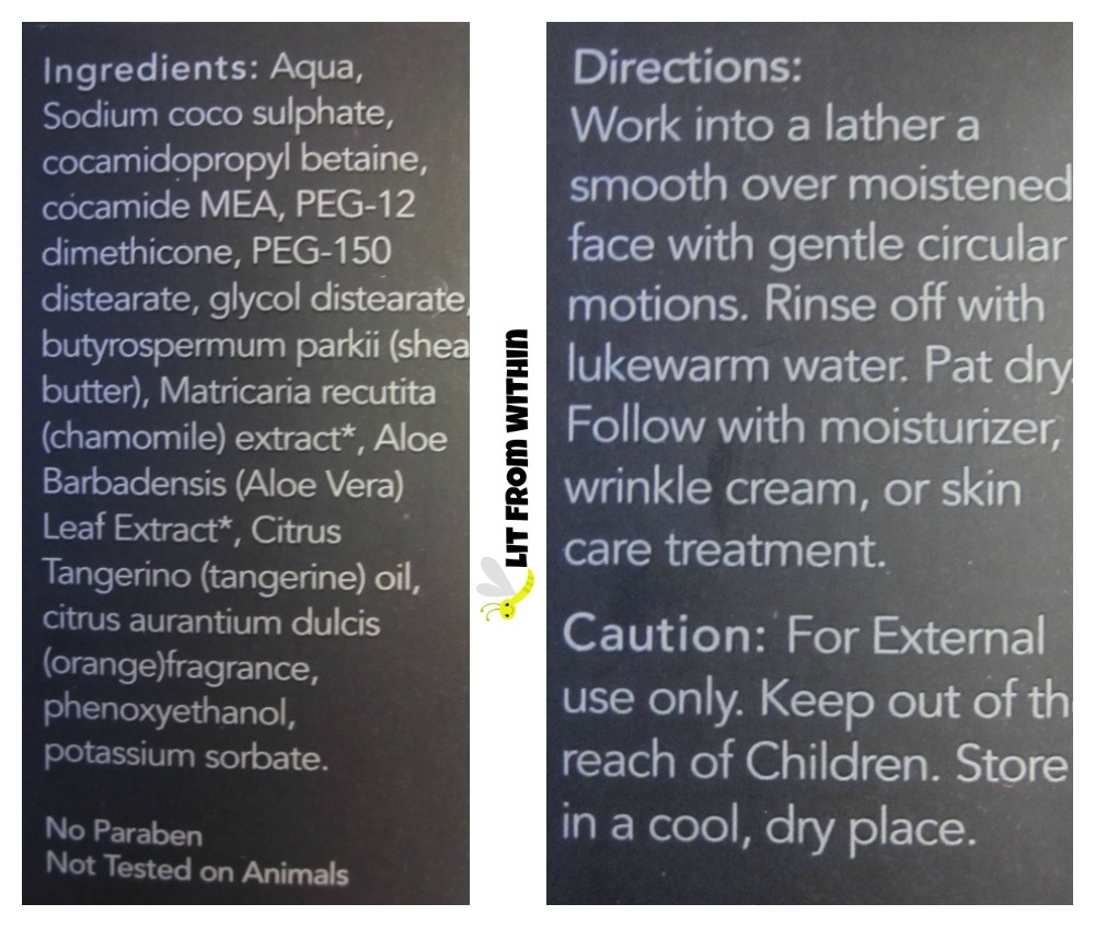 Ageless Derma Oil Free Purifying Natural Facial Cleanser Gel ingredients and directions