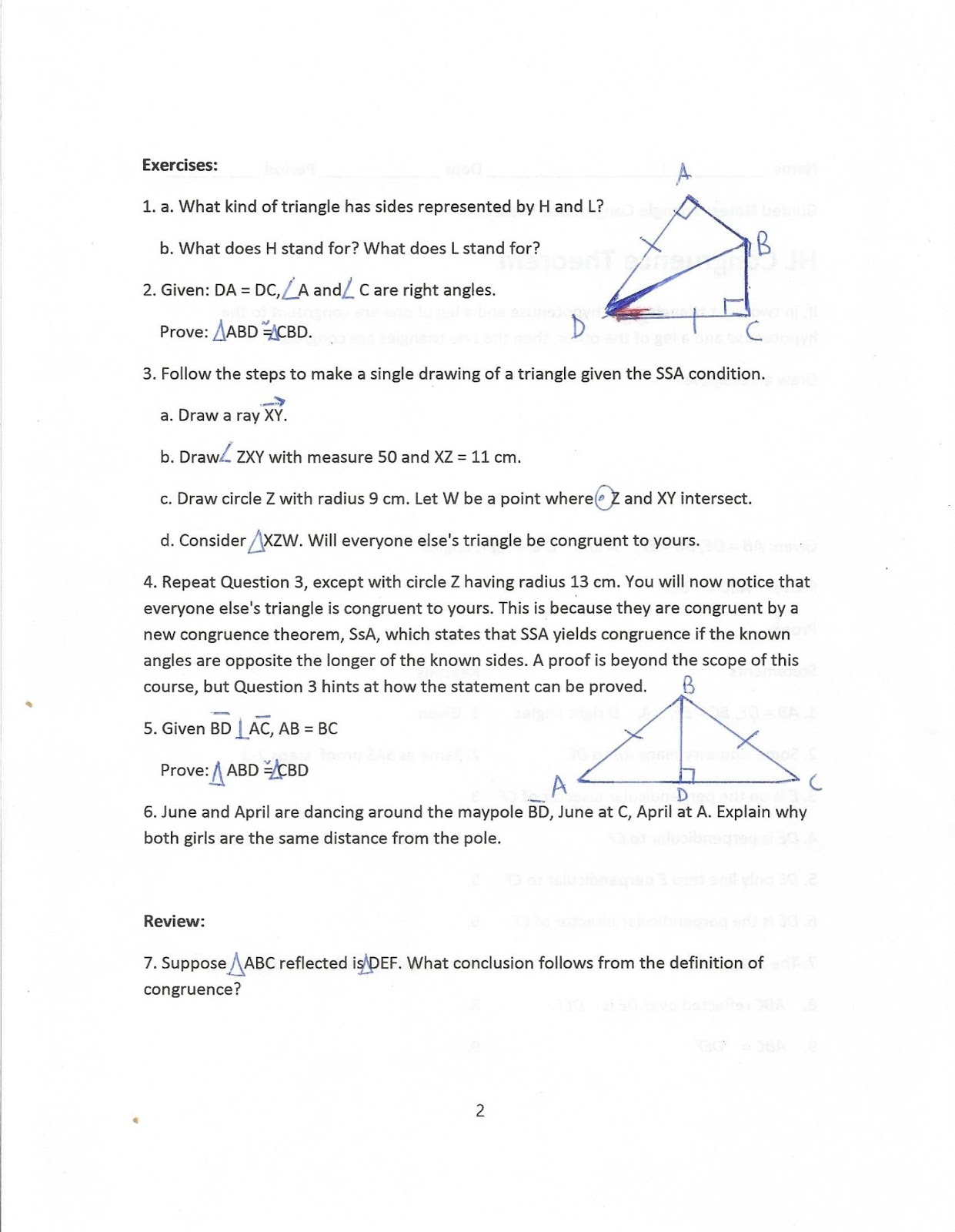 Worksheets Isosceles Triangle Theorem Worksheet geometry common core style october 2015 it depends on three theorems isosceles triangle unequal sides and sum that we have yet to prove my worksheet i added an extra note to