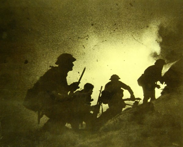 British commandos attacking under the cover of a smokescreen during Operation Archery in Norway, December 27, 1941.