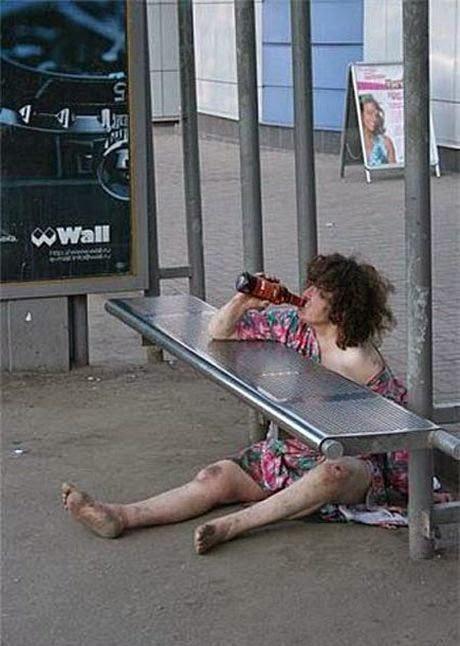 drunken woman on the street