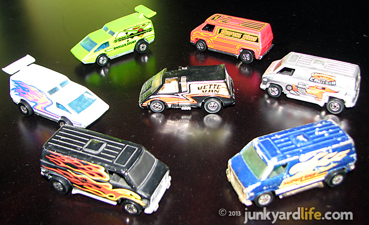 1970 Hot Wheels van collections with 2 Super vans, Vette Van and vans with Vista Cruiser roofs.