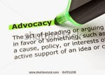 "Advocacy topic icon ... green highlighter pen highlighting the word ""advocacy"""