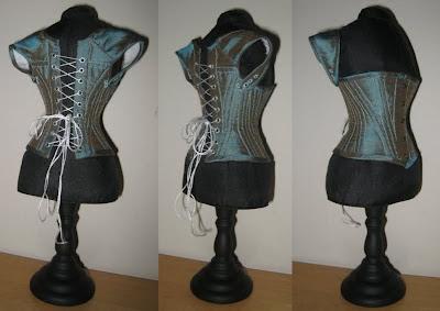 corsetra designs miniature teal corset