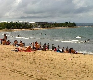 Bikini Girl on Kuta Beach, became a sensation for the local residents